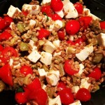 Farro with Roasted Eggplant, Tomatoes and Fresh Mozzarella