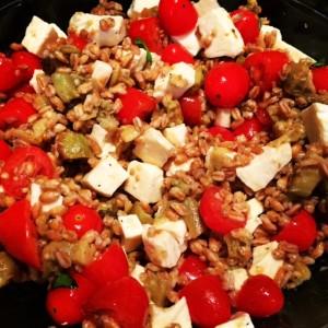 Farro with Roasted Eggplant, Tomatoes and Fresh Mozzarella